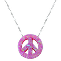 Hot Summer Pink Opal Pendant Peace Sign Choker Necklace With 925 Silver Women Necklace Silver Jewelry