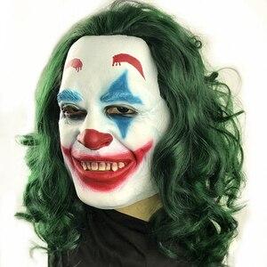 Image 4 - Movie Joker 2019 Cosplay Mask Batman The Dark Knight Clown Mask with Hair Wig Halloween Latex Mask