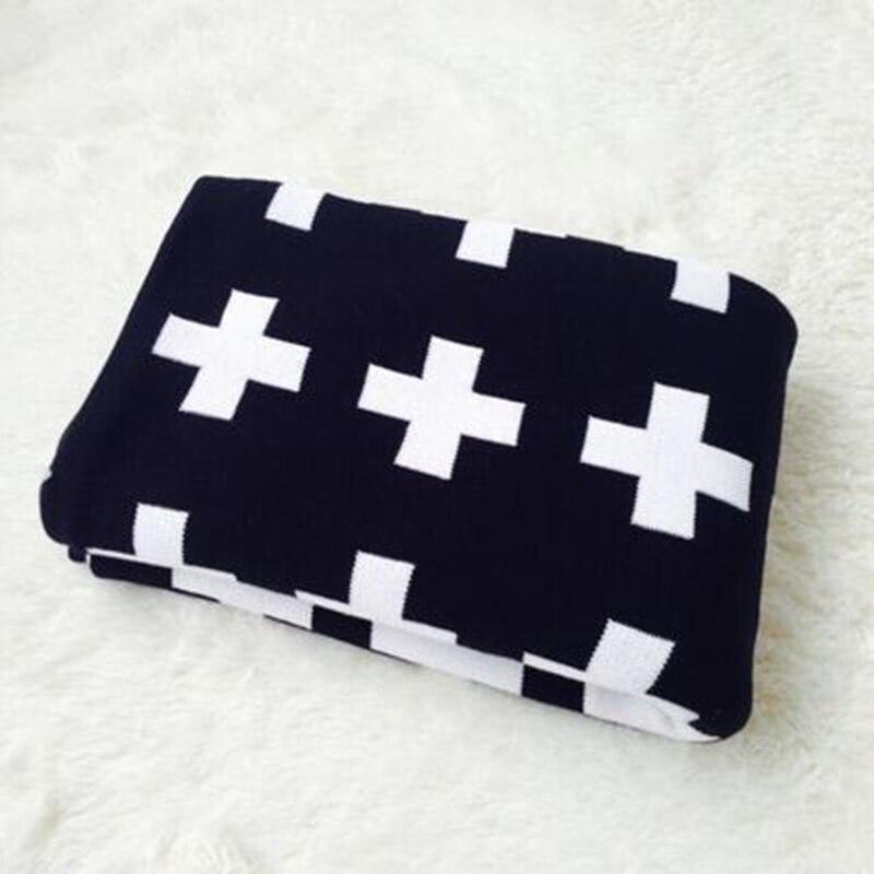 ФОТО Newborn Knitted Rabbit Blankets Black White Cross Blanket Bedding Quilt Swaddle Children Stroller Blanket