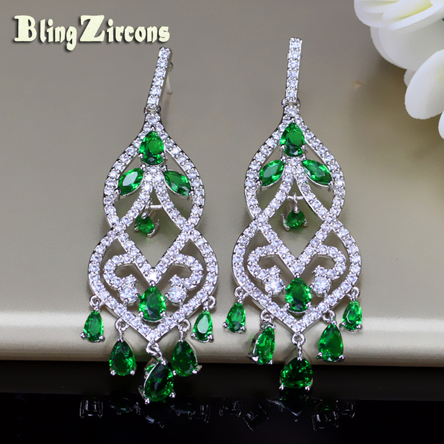 Blingzircons famous designer women jewelry noble green cubic zircon blingzircons famous designer women jewelry noble green cubic zircon long drop bridal wedding chandelier earrings for aloadofball Image collections