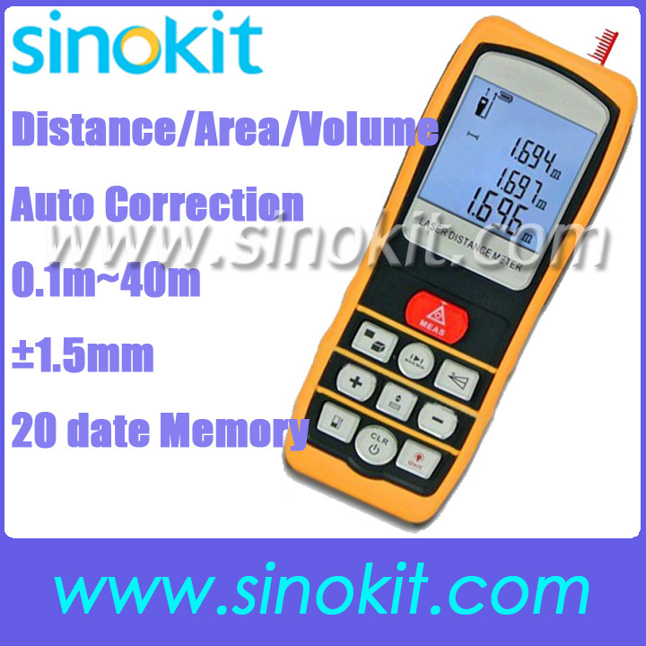 Portable Digital Distance 40 Meter Area Volume Laser Range Finder Accuracy +/- 1.5mm 40m 131ft Measure Range  - SK40D