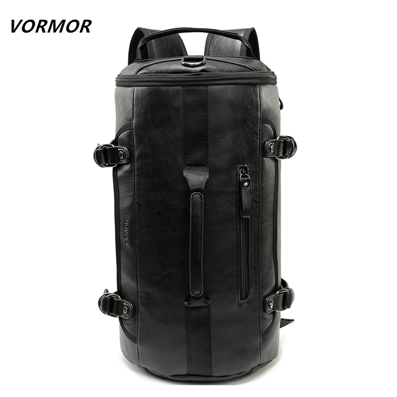 VORMOR Personality Large Size Round Backpack PU Leather Men Duffel Bag Fashion Rolling Travel Backpack For Man Famous Brand