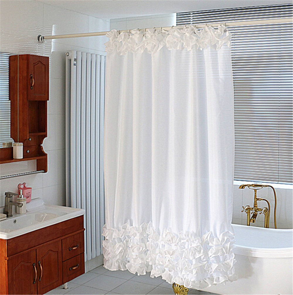 white bathroom curtains 1 8x1 8m white shower curtain cascading waves white lace 15059
