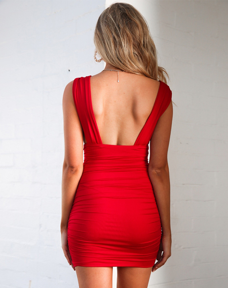 Backless Ruched Wrap Bodycon