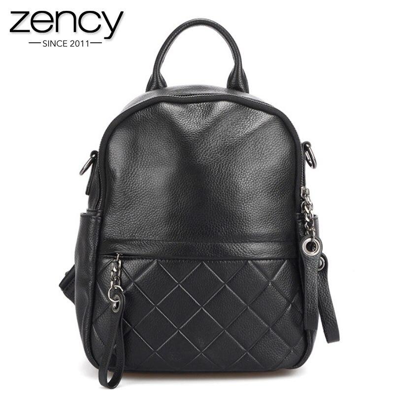 Zency 100% Genuine Leather Vintage Women Backpack Elegant Black Daily Holiday Knapsack Casual Travel Bags Girl's Schoolbag