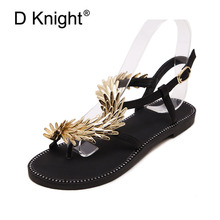 Bling Metal Buckle Women Beach Sandals Gladiator Slippers Woman Flats Flip Flops Shoes Summer Slip On Gold Black Shoes For Woman new peep toe women flats shoes causal beach bow tie jelly woman summer flip flops slippers slip on women sandals
