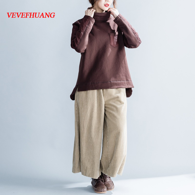 VEVEFHUANG Autumn Winter New Patchwork Casual Fashion Loose Hoodies Long Sleeves Retro Cotton Irregular Sweatshirt For Women