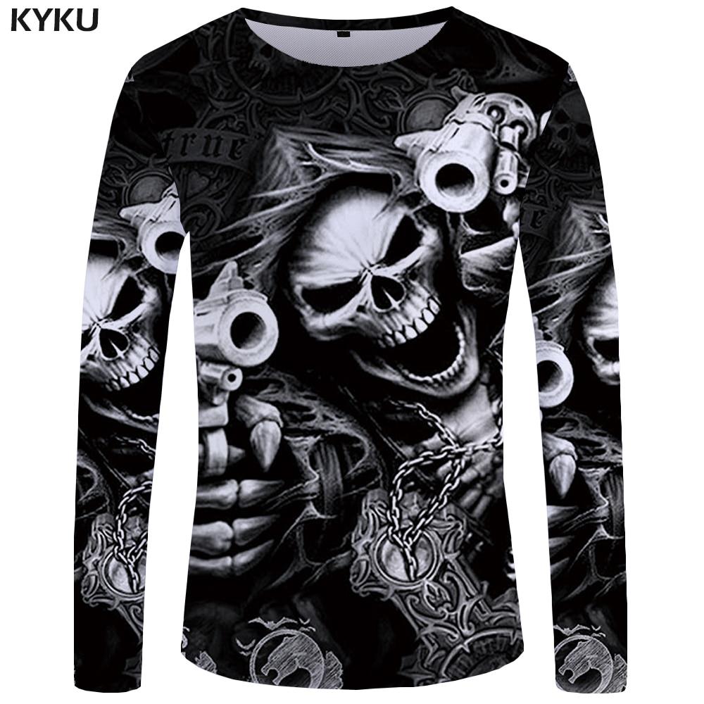 KYKU Marke Schädel langarm T shirt Pistole Kleidung Punk Kleidung Gothic T-shirt Lustige T shirts Tees Männer Hip hop punk Hohe Qualität