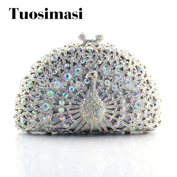 Multi-Color peacock lady fashion crystal hollow metal bridal clutch bagMulti-Color peacock lady fashion crystal hollow metal bridal clutch bag