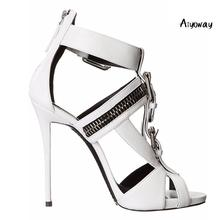 Aiyoway Women Shoes Peep Toe High Heels Sandals Cover Heel Buckle Strap Zipper Spring Summer Ladies Party Shoes White Black цена 2017