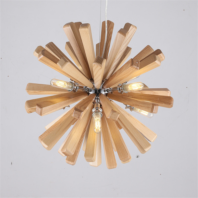 Northern Europe Wooden light fixture Vintage Restaurant Cafe Solid Wood pendant lights Creative Individuality LED Pendant lamp