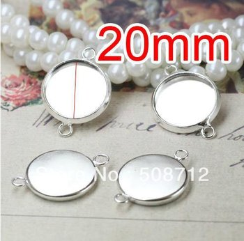 Free shipping!!! 200pcs silver plated Double rings Cameo Frame Settings Connectors fit 20mm,Cameo Cab settings