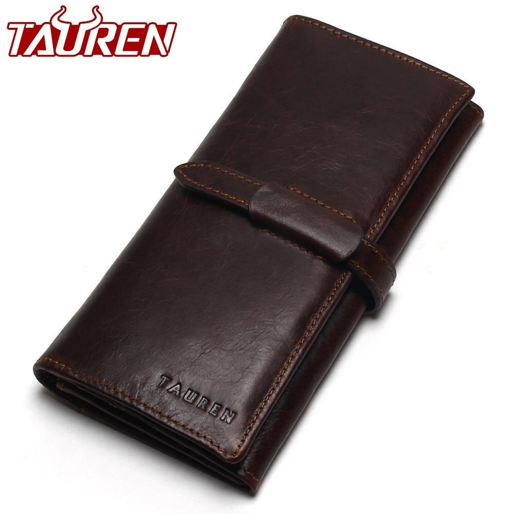 Neue Luxus Marke 100% Top Echtem Rindsleder Hohe Qualität Männer Lange Brieftasche Geldbörse Vintage Designer Männlichen Carteira Brieftaschen