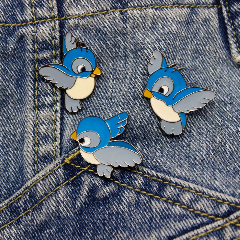 QIHE JEWELRY 3pcs set Bird Cute Badge Accessories Brooch