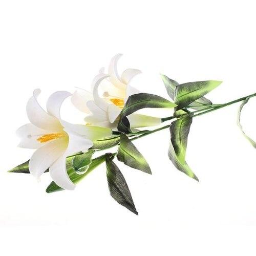 PHFU Fleur Artificielle Lis Lys Tissu Plastique Deco Maison Bureau BLANC