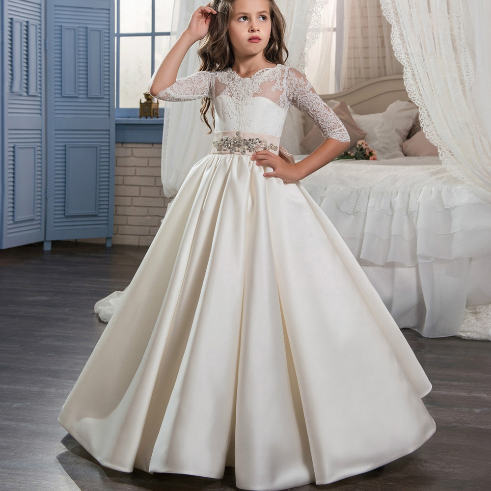 цена на Gorgeous Communion Dresses White Ivory Hollow Back Lace Up Appliques Big Bow Half Sleeves Floor Length Satin Girls Ball Gowns