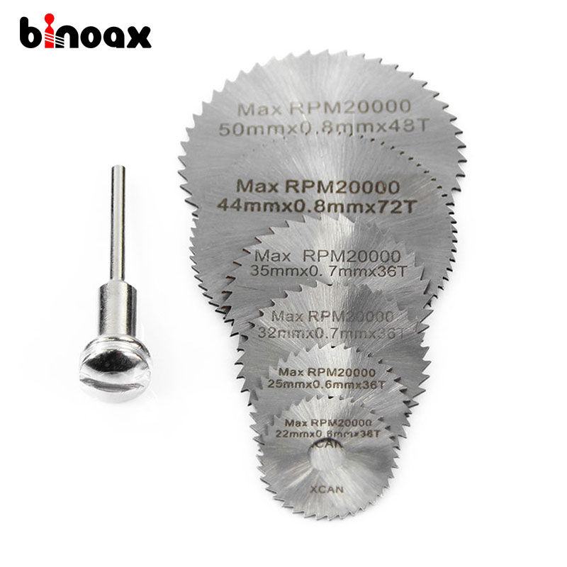 Binoax 6pcs HSS Rotary Tool Circular Saw Blades For Dremel Metal Rotary Cutter Power Tool Set Cutting Diamond Discs Mandrel P238