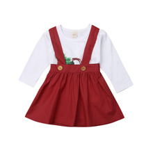 Christmas Baby Girls Tops Long Sleeve T shirt Cotton Solid Overall Tutu Dress 2PCS Outfits Clothes Set 6M-4T 2019