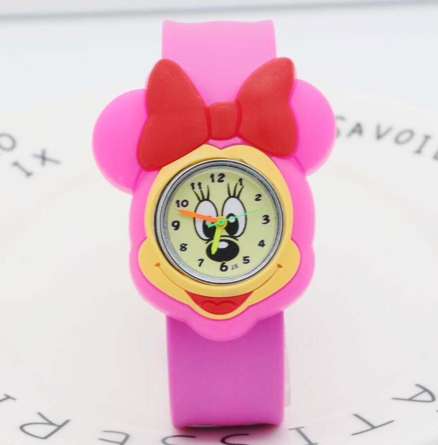 Drop Shipping Cartoon Beautiful Girl Minnie Mouse Style Color Number Dial Children Students Girl's Slap Quartz Watch