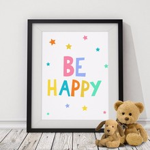BE HAPPY Quote Kids Poster, Nursery Print Art, Wall Picture Oil Painting Canvas Art Prints Nursery Art, Baby Room Decor No Frame