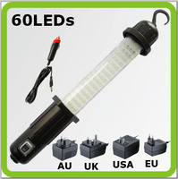 Free shipping cordless led work lamp rechargable battery cordless 60 LED inspection light led work light for camp car emergency