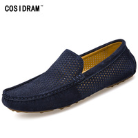 COSIDRAM 2017 Summer Loafers Men Shoes Casual Genuine Leather Flats Shoes Soft Male Moccasins Breathable Gommino