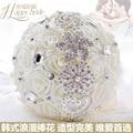 100% Handmade Wedding Bouquet With Diamonds Ivory Roses Bridesmaid Bridal ramos buque de casamento rosa accesorios flores boda