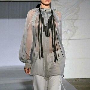 Image 5 - YD & YDBZ 新人デザイナーの高級本物の革のペンダントネックレス女性ネックレスゴシック革チェーンパーティーロングチョーカージュエリー