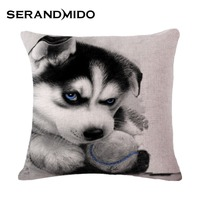 Cute Siberian Husky Dog Kids Cushion Cases Linen Cotton Decorative Pillow Covers Wholesale For Sofa Home