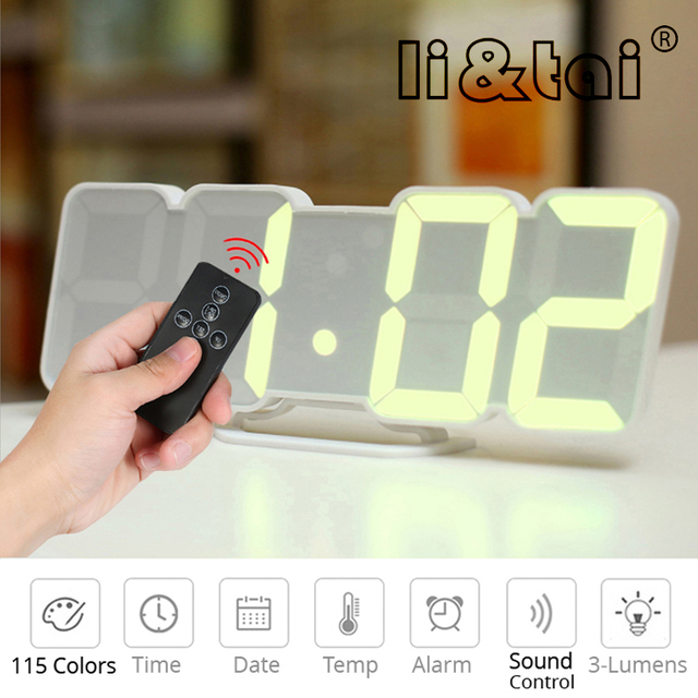 3D Remote Control Digital Wall Clock 115 Colors LED Table Clock Desk Time Alarm Temperature Date Sound Control Reloj Night Light