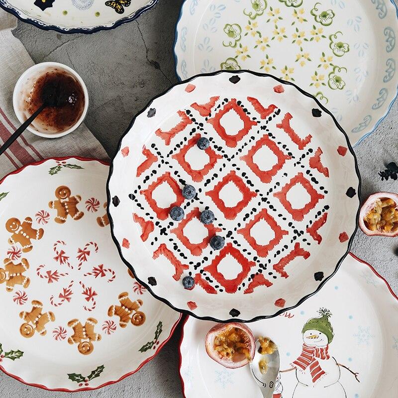 Dipinto A mano sottosmalto colore piastra pizza 10 pollice piatto in ceramica piatto di famiglia grande piatto cotto arrosto dis