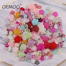 About 20g/lot Random Mix Design Color Flower  flat back pearl round,bow,flower for ornament multicolor
