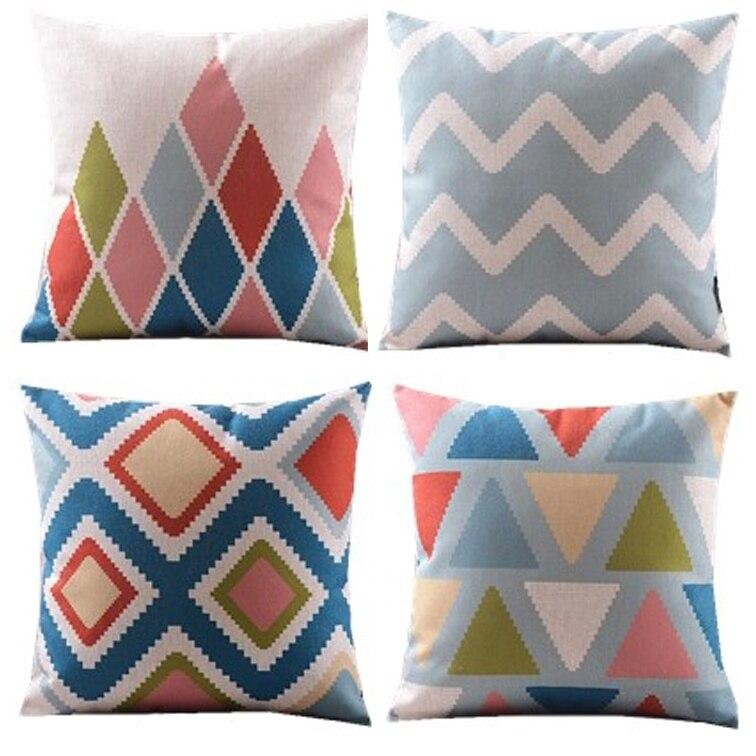 Nieuwe 4 stks / blauw groen roze koraal / diamant / chevron - Thuis textiel