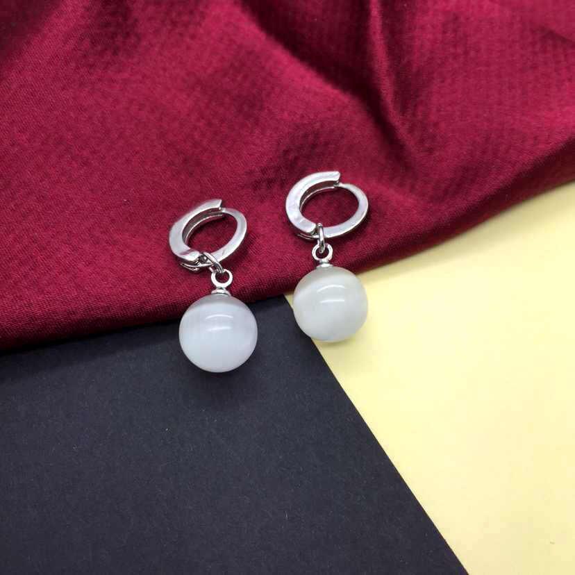 Pendientes para las mujeres blanco ojo de gato pendiente de piedra de pendientes de la joyería de la plata esterlina 925 pendiente Brincos Brinco Oorbellen F26
