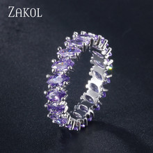 ZAKOL 4 Colors Fashion AAA Marquise Cut Cubic Zirconia Wedding Rings for Women Cz Crystal Leaf Party Jewelry FR345