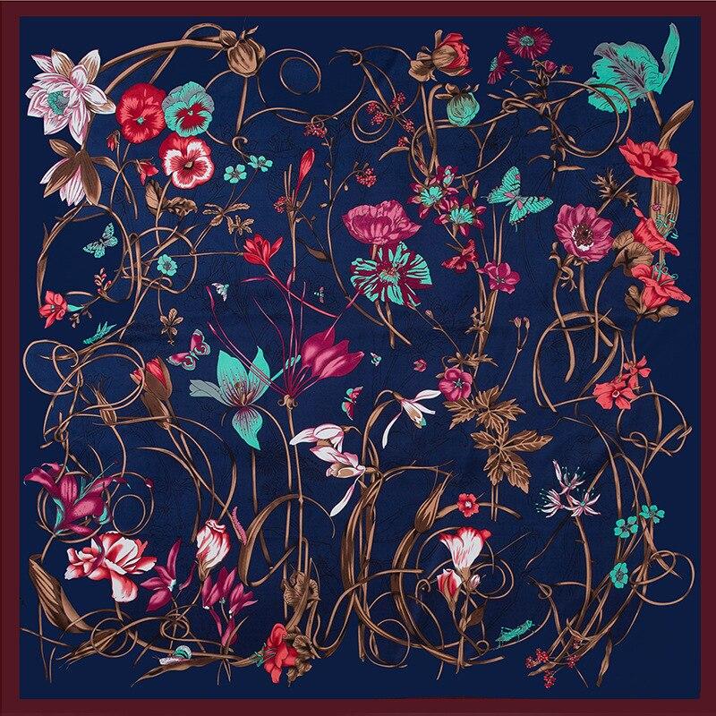POBING 100% Silk Scarf Women Large Shawls Floral Print Stoles Square Bandana Luxury Melt Kerchief Scarf Female Foulards 130CM