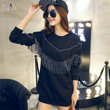 GDA. 2016 Korean Institute of Autumn and Winter Thick Long Sleeve Sweatshirt Tassel Black Loose Pullovers S