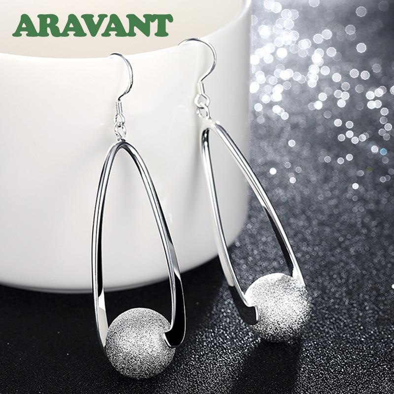 Silver 925 Jewelry Earrings Long Sanding Ball Earring For Women Wedding Fashion Jewelry