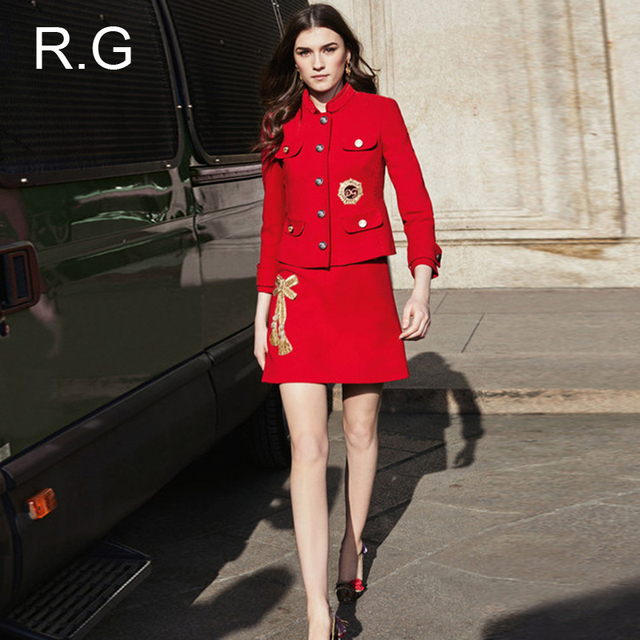 Rg Formal Christmas Red Dress Suit Women Business Office Suits