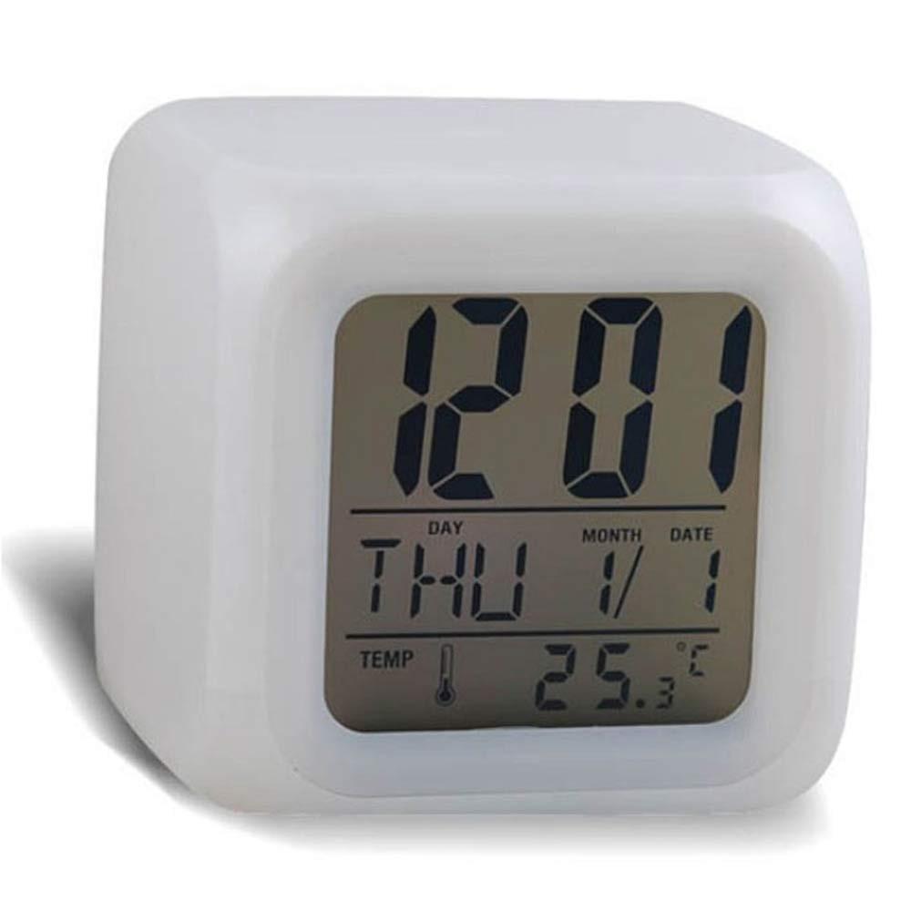 USA 7 couleurs DEL Changement réveil numérique LCD Lumière Thermomètre Calendrier Date