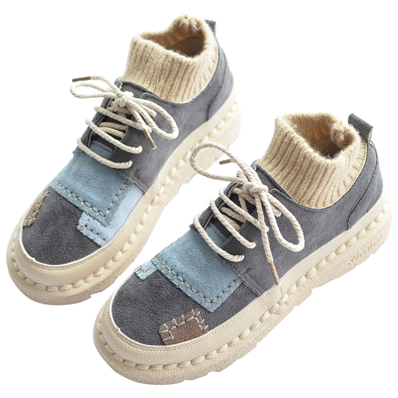 Mori Girl Japanese Women s Booties Flat Boots Wool Tube Literary Retro Lace Up Single Shoes