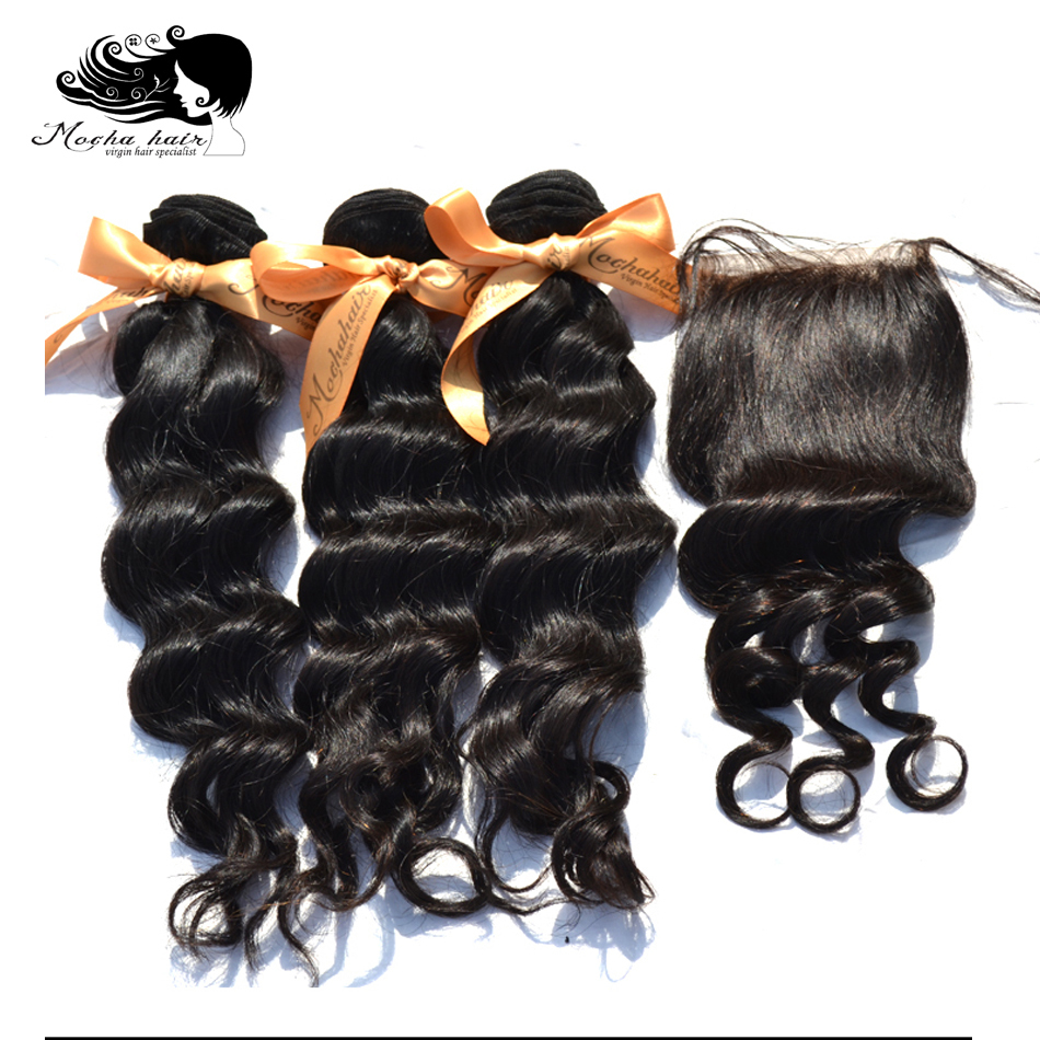 MOCHA Hair  10A Brazilian Virgin Hair Loose Wave  3 Bundles With One 4* 4 Lace Closure 100% Human Hair Free Shipping