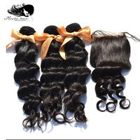 MOCHA Hair Brazilian Virgin Hair Loose Wave 3 Bundles With One 4* 4 Lace Closure 100% Human Hair Free shipping