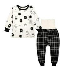 Купить с кэшбэком 2019 Autumn&Winter New Baby Clothing Cotton  Care Belly Print Children Pajamas Set Boys Clothes High Waist Long Pants FZ9206