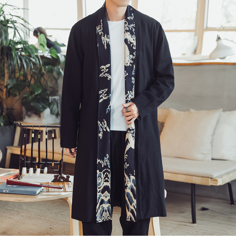 Male Fashion Casual Long Kimono Jackets Plus Size 5XL Overcoat Men Chinese Style Long Sleeve Trench