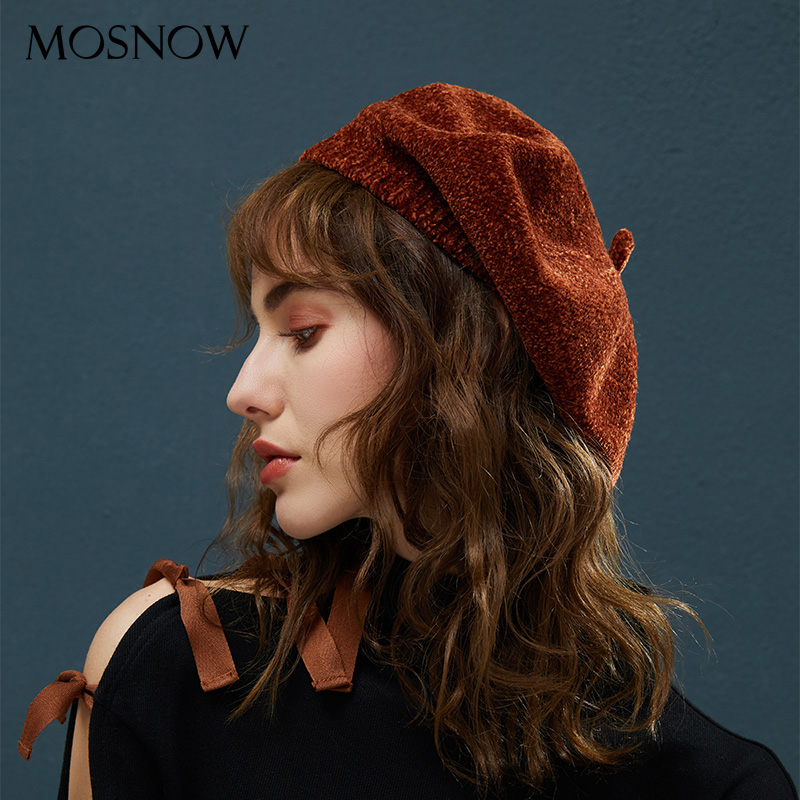 a11f9fd351b Dropwow Winter Berets For Women s Beanie Top Quality Chenille Material  Knitted Hats Female 2018 New Vintage Beret For Girls Lady Beanies
