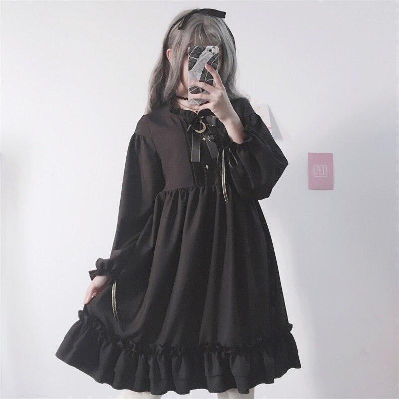 Femmes de Harajuku Gothique Lolita Robe Noire Étoiles Boutons Automne Japonais Dentelle Up Arc Rétro Volants Filles Robe De Volant