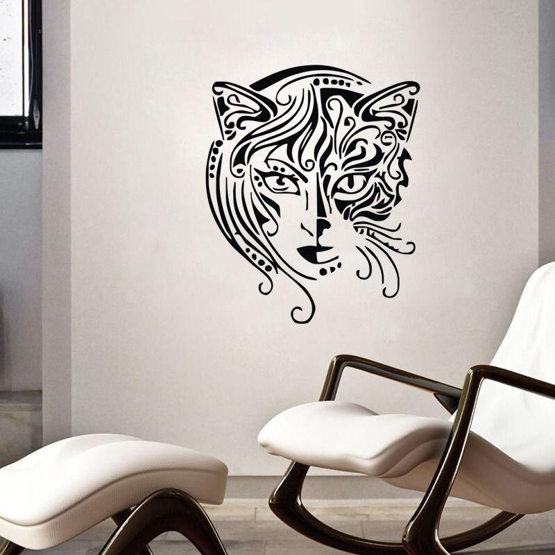 New Design Cat Women Wall Decals Vinyl Art Mural Bathroom ...