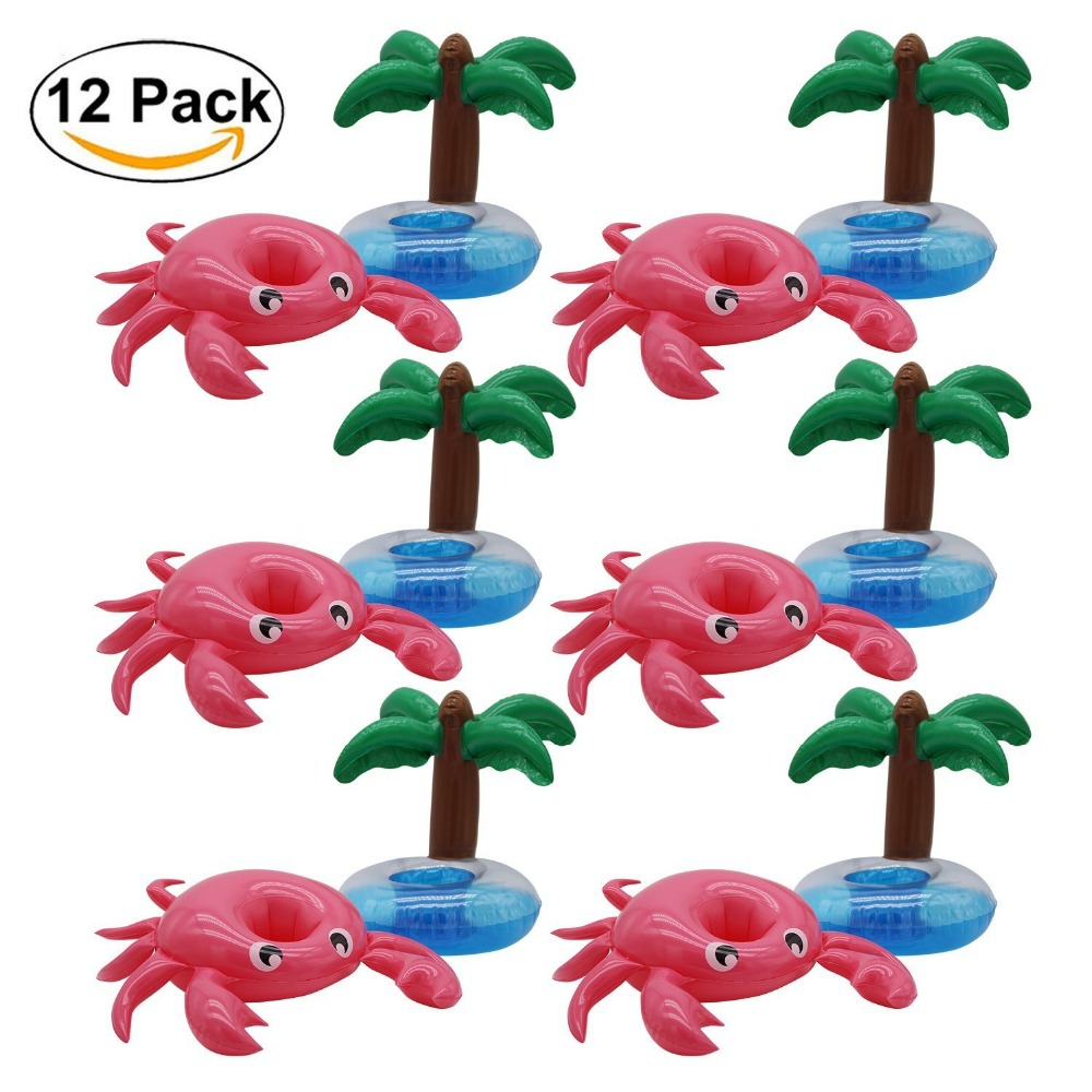 12 Pack crab Inflatable Float Pool Party Drink Holder - Inflatable Coaster - Swimming Floatation Toy -Party Inflatables