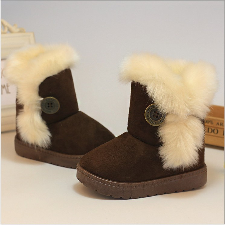Children Boots Winter 2017 Thick Warm Girls Shoes Cotton-Padded Suede Kids Boots for Girl Snow Boots Kids Shoes Black Red Pink
